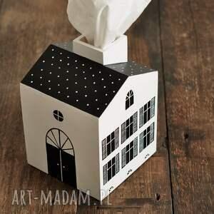 chustecznik domek - czarno-biały pojemnik na chusteczki higieniczne domki drewniane