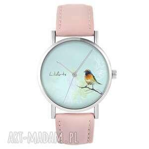 zegarek - kolorowy ptak pudrowy róż, skórzany, zegarek, pasek