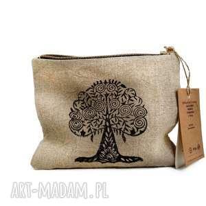 Lniana kosmetyczka organizer bodhi tree , len, organiczne, trendy, orientalny