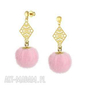 KOLCZYKI z różowym pomponem - I ♥ Pom Poms, pompon, srebro, 925, sztyfty, złoto, 24k