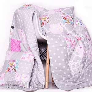 ręcznie robione koce i narzuty komplet narzuta pink butterfly 150x210cm patchwork