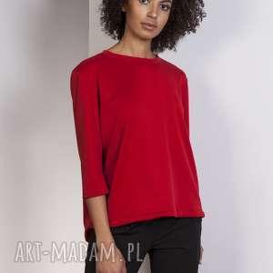 Luźna bluzka-frak, BLU140 czerwony, bluzka, casual, frak, luźna, bluza, elegancka