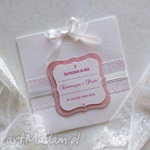 Zaproszenie ślubne wsuwane z kokardką - ,zaproszenia,ślub,wesele,