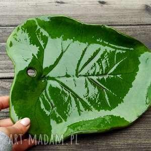 hand-made ceramika liść - patera mała zielona