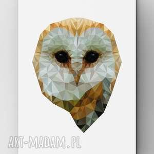 Sowa, plakat, sowa, grafika, owl, dom, lowpoly