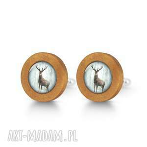 jeleń 3 - drewniane spinki do mankietów, mankiety męskie, prezent