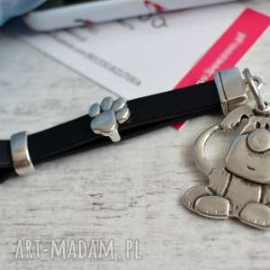 ręcznie wykonane breloki skórzany brelok do kluczy doggy black