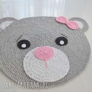 dywan miś róż - dywan bawełniany 120cm - dywan, miś, dywanik, dziecko