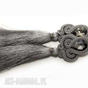 szare klipsy sutasz, sznurek, eleganckie, wiszące, wieczorowe, długie, grafitowe
