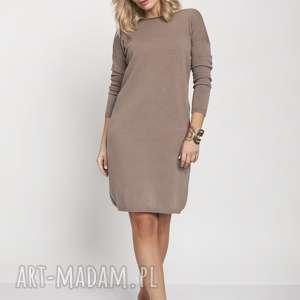 mkm swetry dzianinowa sukienka, suk008 mocca mkm, dzianina, najesień