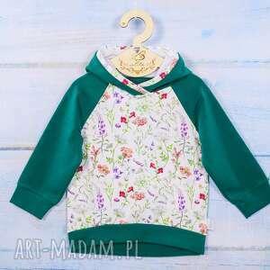 bluza z kapturem, dla dziewczynki, w kwiaty