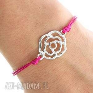 handmade bransoletki simply charm - fuchsia twine with rose
