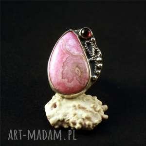 rodochrozyt i romantyczny granat, srebro, pierścionek, rodochrozyt