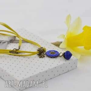 naszyjniki naszyjnik romantyczny - żółty z chabrowym 2404