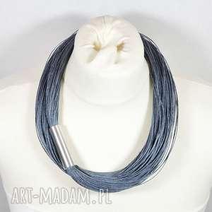 PMPB Style: SZARY długi naszyjnik lniany, prosty z metalowym