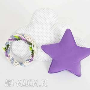 pokoik dziecka zestaw 2 poduch fioletowo-biały, chmurka, gwiazdka, fioletowa poduszka