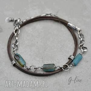 szkło antyczne i rzemień surowa srebrna bransoletka 150, srebro, rzemień