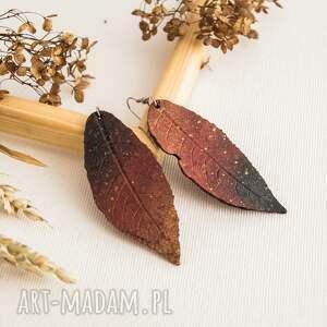 wyjątkowe prezenty, ogniste kolczyki liście, kolczyki, liść, boho
