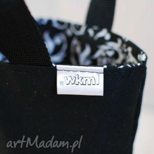 handmade lunchbag czarno-białe ornamenty