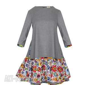 SUKIENKA IRENA 5965, sukienka-z-falbaną, sukienka-z-koła, sukienka-w-kwiaty