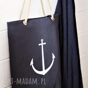 Torba z kotwicą w stylu marynistycznym, torba, bawełniana, plażowa, lenia, kotwica