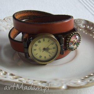 handmade zegarki zegarek vintage z grafiką skórzany pomarańczowy
