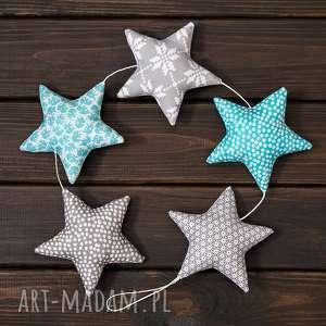 dekoracje szaro-błękitna girlanda, 5 gwiazdek, gwiazdka, ozdoba, zawieszka