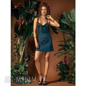 ariel mini - sukienka z dekoltem wodą, mini, morska, slip dress