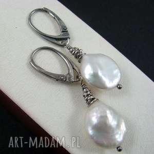 onyksela perły kolczyki, perły