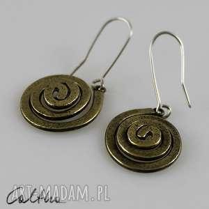 ślimaki - mosiężne kolczyki 150425-04, mosiężne, złote, wiszące, spirale