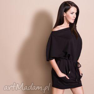 sukienka 2w1 z paskiem, t155, czarna - sukienka, dzianina, bawełna, luźna, pasek