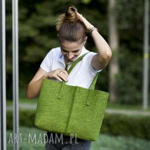 na ramię duża torebka -filcowa torba minimalistyczna - zielona, filc, zieleń