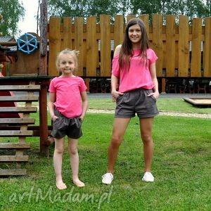Szorty brązowe dla mamy i córki/syna, spodenki, szorty, brązowe, oversize, syna