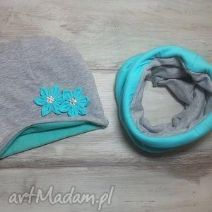 bukiet-pasji ciepły zimowy komplet czapka i komin - bawełna, polar