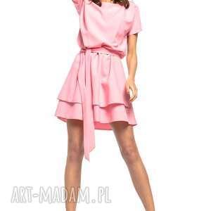 Sukienka z podwójną spódnicą, T268, różowa, sukienka, elegancka, pasek, podwójna,