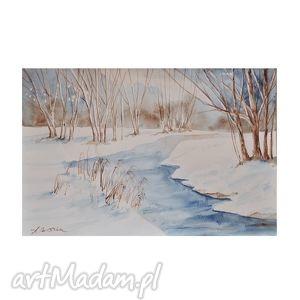 zimowy pejzaż 6, akwarela, zimowy, pejzaż, rzeka, las