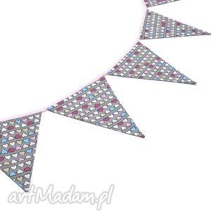 handmade dla dziecka girlanda proporczyki chorągiewki 160 cm kolorowe serduszka / róż