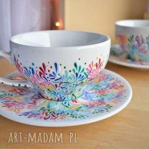Filiżanki dla pary prezent ślubny rocznica multikolor ceramika