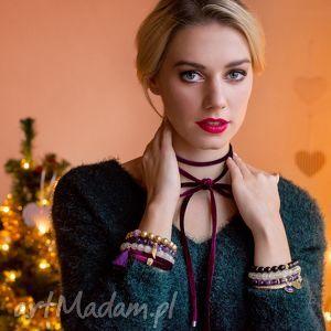 violet gold , zestaw, aksamit, perła, cytryn, ametyst bransoletki biżuteria