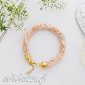 Peachy Glamour, bransoletka, koralikow, koralikowa