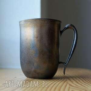 kubek ceramiczny srebrno - złoty rustykalny 300 ml, kubek, ceramika