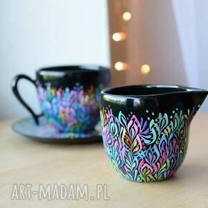 zestaw do kawy filiżanka i mlecznik multikolor, filiżanka, ceramika, ceramiczna