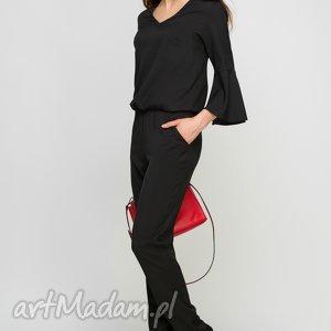 handmade spodnie kombinezon z falbanami, kb112 czarny