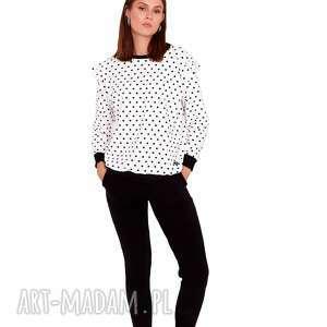 dres damski ella kolorczarno/biały w kropki, sport, sukienka, bluza