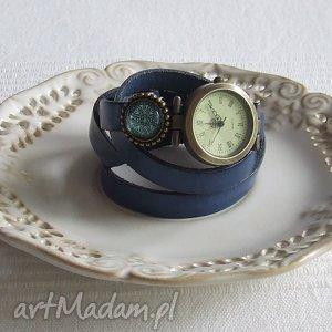 Zegarek Vintage z Grafiką Skórzany Chabrowy, biżuteria, zegarek, bransoletka, złoto
