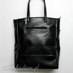 Prezent Shopper Bag - czarna z perłowym połyskiem, elegancka, nowoczesna, prezent