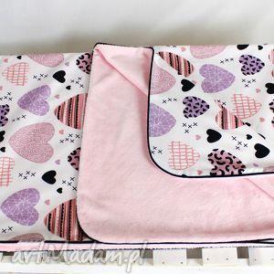 ręcznie zrobione pokoik dziecka kocyk minky 100x75 serca róż