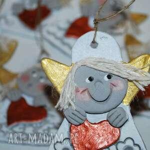 ceramika serducho mam - aniołki z modeliny, aniolek, święta, modelina, serce