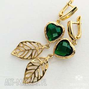 Prezent Zielone serce z listkiem-kolczyki, sztyfty, liść, serce, kryształ, prezent