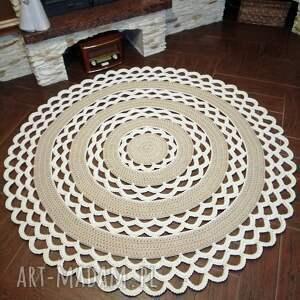 dywan okrągły ze sznurka bawełnianego szydełkowy 150cm, okrągły